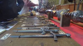 Blades on Display In The Market stock footage