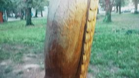 Wooden statue of an eagle, height of man, set in the center of the village. This is footage of Wooden statue of an eagle, height of man, set in the center of the stock footage
