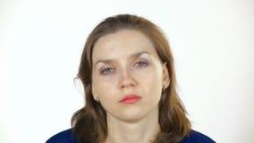 Sleepy caucasian woman stock footage