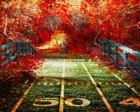 Footall-Brücke zum hellen roten Wald Lizenzfreies Stockbild