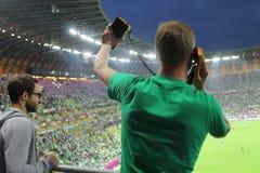 Footbal爱好者 2012欧元 爱尔兰 免版税库存图片