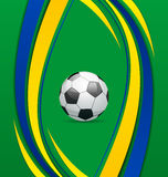 Footbal background in Brazil flag concept Royalty Free Stock Photo