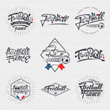 Footbal 2016 - badge, sticker, label, insignia, flyer, print, stamp. Footbal 2016- insignia is made with the help of lettering and calligraphy skills, use the stock illustration