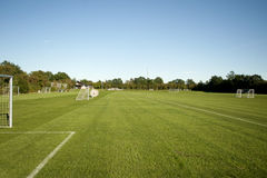 Footbal field. Green grass ready to play football field Stock Photography