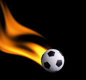 Footbal in fire Stock Photography
