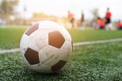 Footbal. Put on grass for l play Royalty Free Stock Image
