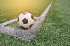 Footbal. L,  sets at the corner in artificial turf l stadium Royalty Free Stock Photo