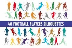 20 Footbal graczów sylwetek projekta różnorodny set royalty ilustracja