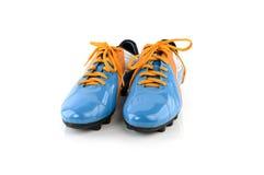 Footbal Matten Fußballstiefel Lokalisiert auf Weiß Lizenzfreies Stockbild