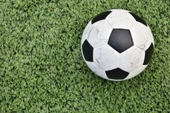 Footbal. Put on grass for l play Royalty Free Stock Photography