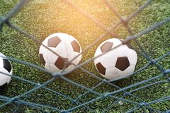 Footbal. Put on grass for l play Stock Image