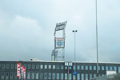 Footbal soccer stadium of the Eredivisie team PEC Zwolle in the Netherlands on the inside. Footbal soccer stadium of the Eredivisie team PEC Zwolle in the stock photos