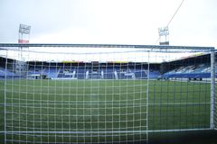 Footbal soccer stadium of the Eredivisie team PEC Zwolle in the Netherlands on the inside. Footbal soccer stadium of the Eredivisie team PEC Zwolle in the stock images