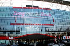 Footbal soccer stadium of FC Utrecht named nieuwe Galgenwaard from inside. Footbal soccer stadium of FC Utrecht named nieuwe Galgenwaard from front with red royalty free stock photos