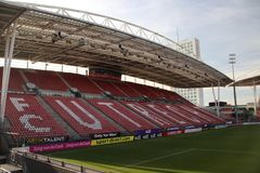 Footbal soccer stadium of FC Utrecht named nieuwe Galgenwaard from inside. With red seats in the City Utrecht in the Netherlands stock images