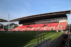 Footbal soccer stadium of FC Utrecht named nieuwe Galgenwaard from inside. With red seats in the City Utrecht in the Netherlands stock photography