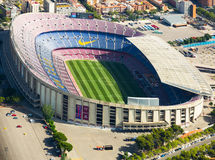 Footbal stadium Nou Camp in Barcelona. BARCELONA, SPAIN - AUGUST 7, 2016: Aerial view at Camp Nou, famous footbal stadium in Barcelona of Catalonia, Spain Stock Photo