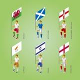 Footbalers с флагами: Кипр, Израиль, Англия, Уэльс, северное Стоковые Изображения RF