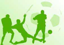 Football. Green silhouette of football players Stock Image