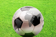 Football. A leather soccer ball with world map Royalty Free Stock Photos