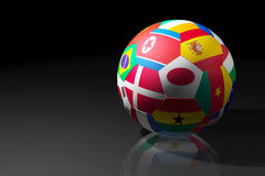 Football. With flags of participants of 2010 World cup vector illustration