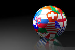 Football. With flags of participants of 2010 World cup royalty free illustration