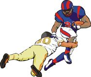 Football. Player, last-ditch battle, i love this game, tough guy, playing field Stock Photo