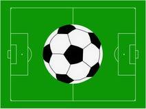 Football. Ball over football pitch vector illustration Royalty Free Stock Photos