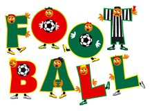 Football. Word - football - as a team of football players from amusing letters. Vector illustration Royalty Free Stock Images