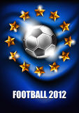 Football 2012. Soccer ball on a blue background with stars Stock Photos