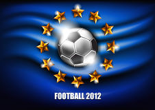 Football 2012. Soccer ball on a blue background with stars Royalty Free Stock Images