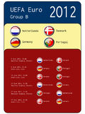 Football 2012 match schedule  - group B. Illustration Royalty Free Stock Images