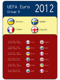 Football 2012 match schedule - group D. Football 2012 match schedule  - group D - illustration Stock Photography