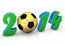 Football 2014. Text 2014 with golden football on the white background Stock Images