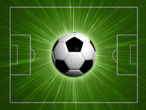 Football. Abstract background 3d football ball over green field Stock Photo