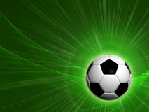 Football. Abstract background 3d football ball over green field Stock Images