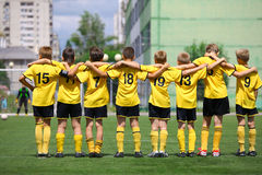 Football. Unidentified boys from football team Elets waiting for penalty on June 17 2012 in Belgorod, Russia. Chernozemie Superiority. Football team of 2001 year Stock Images