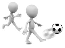 Football. Little funny 3d men playing with football, one kicking in foreground, the other is running for it, white background, sports and football concept Royalty Free Stock Photo