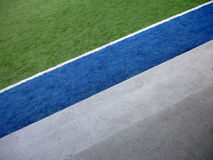 Football. Three color in field: green, blue and white Stock Photos