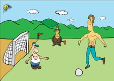 Football. Vector graphics illustration. A funny cartoon football player Royalty Free Stock Image