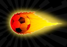 Football. Illustration of a soccer ball in a fire flame Royalty Free Stock Photo