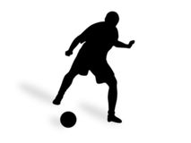 Football. Silhouette  male playing in football, isolated on a white background Stock Photos