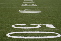 Football. Yard lines on an American football field Royalty Free Stock Photo