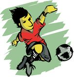 Football action. A cartoon  illustration depicting a football player in action Stock Image
