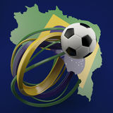 Football against green Brazil outline. Black and white colours football against green Brazil outline on navy blue Royalty Free Stock Images