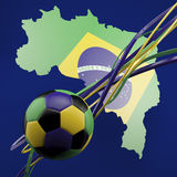 Football against green Brazil outline. Football in brasil colours against green brazil outline on navy blue Stock Photography