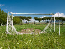 Football aka soccer pitch, unused, dilapidated Royalty Free Stock Photo