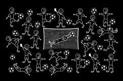 Composition of cartoon drawings of little men. Football and soccer. Vector drawing. Composition of cartoon drawings of little men. Football and soccer. Positive vector illustration