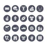 Football américain, icônes plates de glyph de vecteur de rugby Folâtrez les éléments de jeu - boule, champ, joueur, casque, casse Images libres de droits