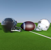 Football. American football and helmets over a green grass field, 3d render Stock Images